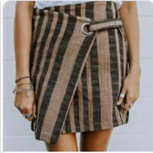 Free people striped wrap skirt